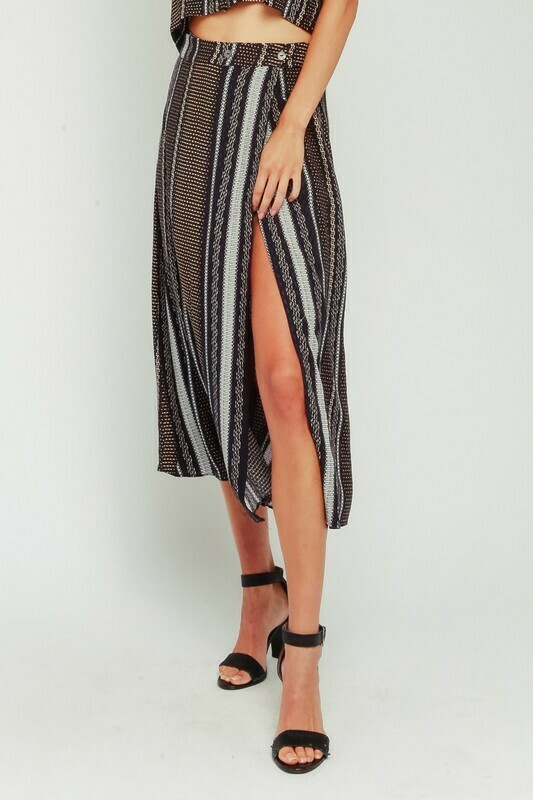 Etched Border Midi Skirt