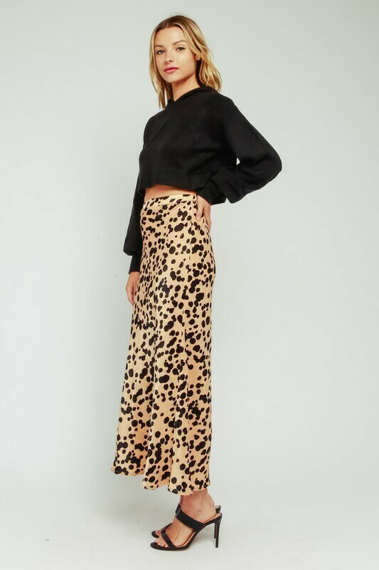 Satin Leopard Maxi Skirt