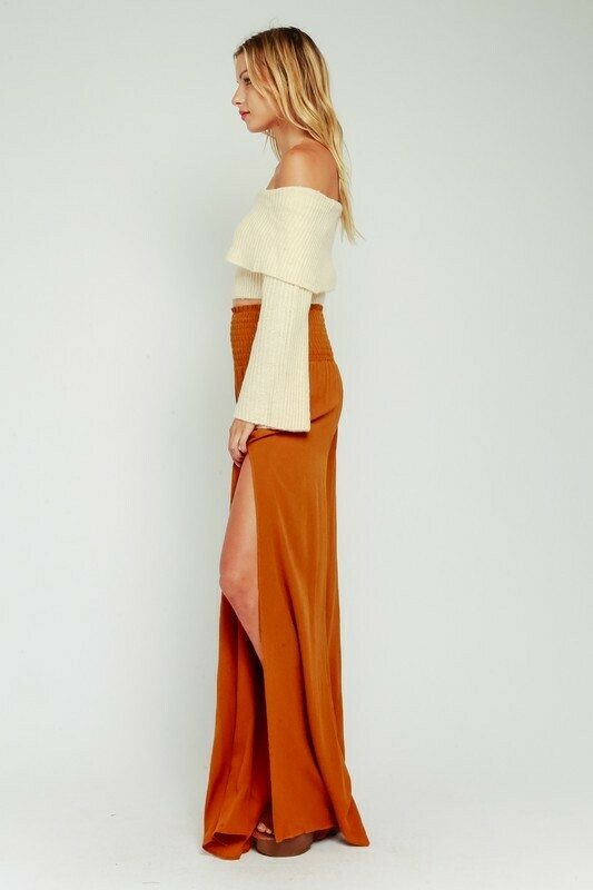Smocked High Leg Slit Pants