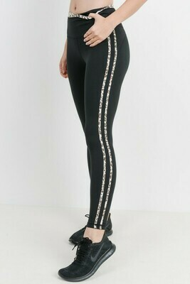 Snow Jaguar Print Striped Highwaist Leggings