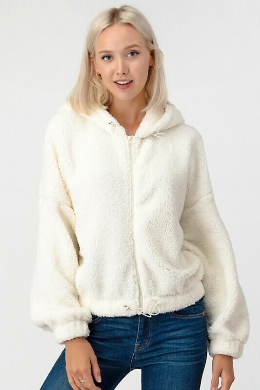 Cropped Faux Fur Hoodie Jacket