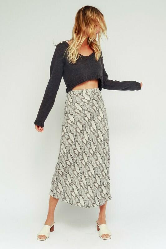 Grey Snake Midi Skirt