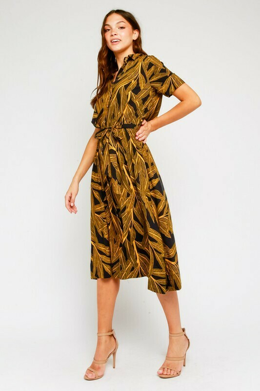 Golden Palm Midi Shirt Dress