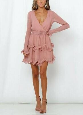 Ruffled long sleeved textured mini dress