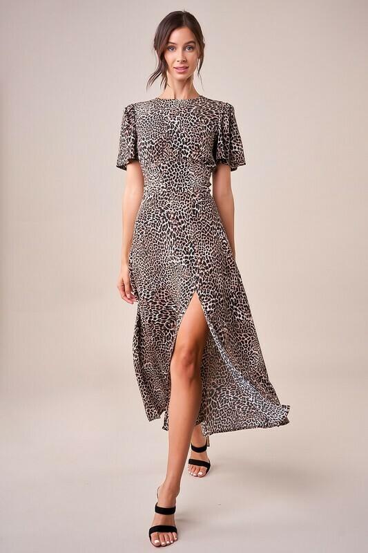 Dance The Night Away Leopard Midi Dress