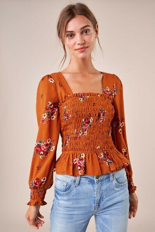 Flirty Florals Orange Smocked Square Neck Blouse