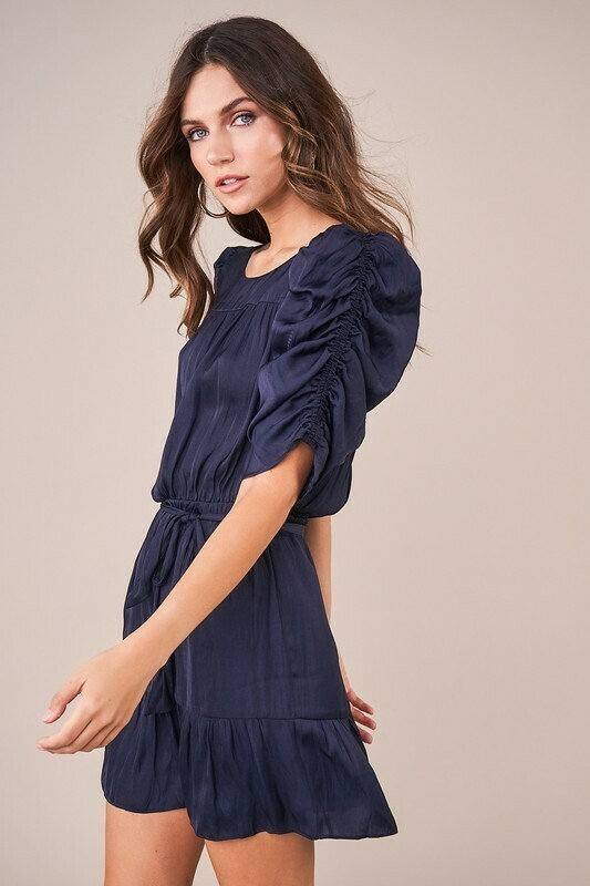 Coleen Ruched Sleeve Ruffle Dress