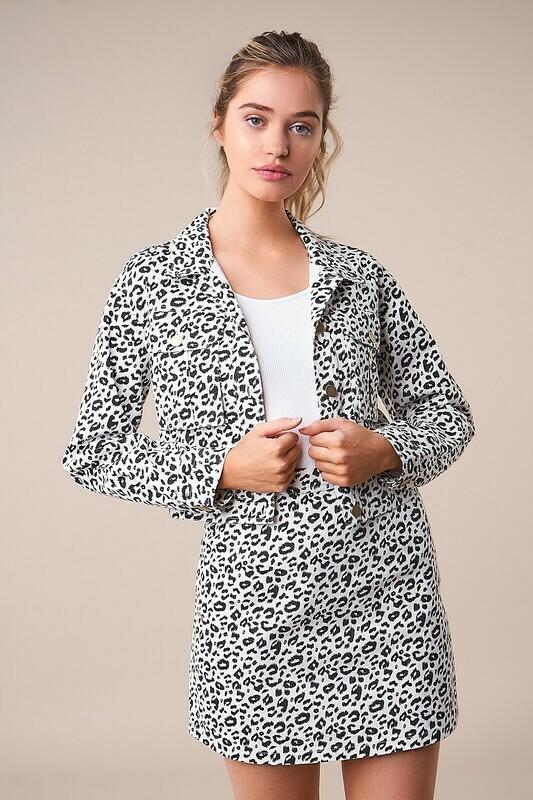 Wildest Dreams Cropped Leopard Denim Jacket