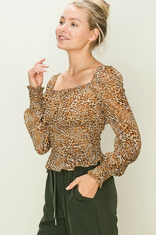 Leopard Print Smocked Blouse