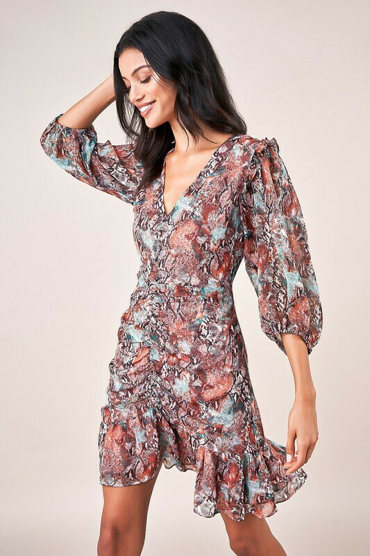 Rockin Ruched Snake Print Dress