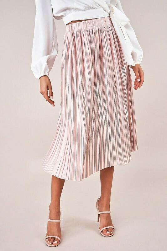 Stay Golden Plisse Midi Skirt
