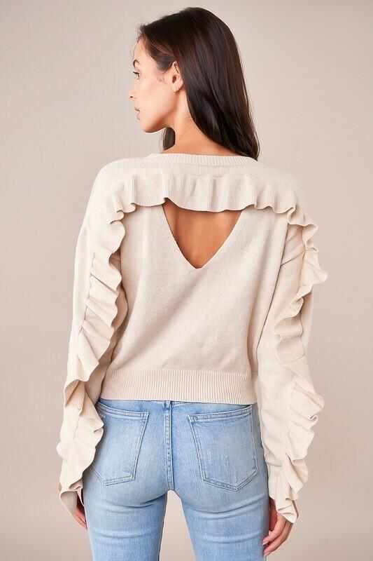 Kimoto Ruffle Detail Sweater