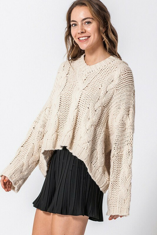 Oversized Cable Knit Hooded Sweater