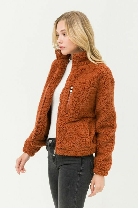 Sherpa Fleece Faux Fur Teddy Zip Up Jacket