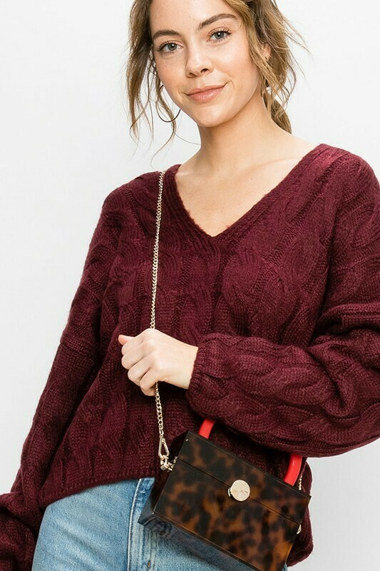 V-Neck Cable Knit Pullover Sweater
