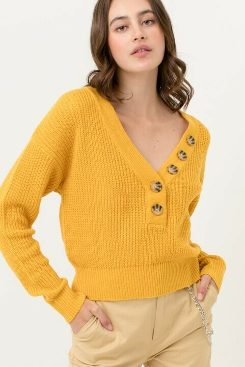 V-Neck Buttoned Sweater Top