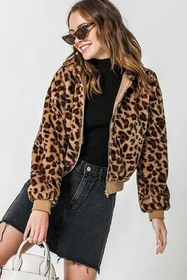 Leopard Hooded Bomber Jacket
