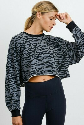 Grey Tiger Print Crop Pullover