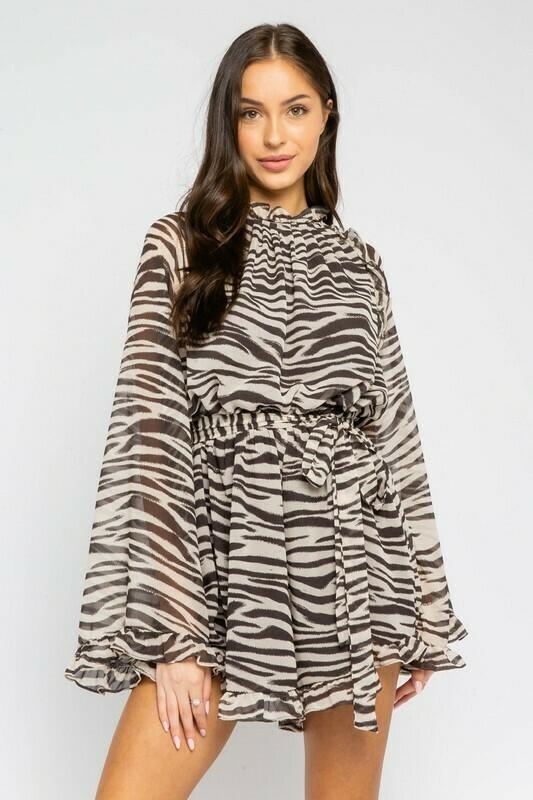 Zebra Mock Neck Belted Romper