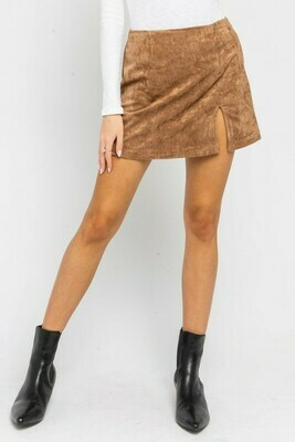 Faux Suede Slit Miniskirt