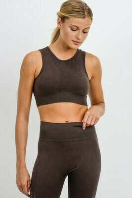 Mineral Wash Ribbed, Perforated Classic Sports Bra