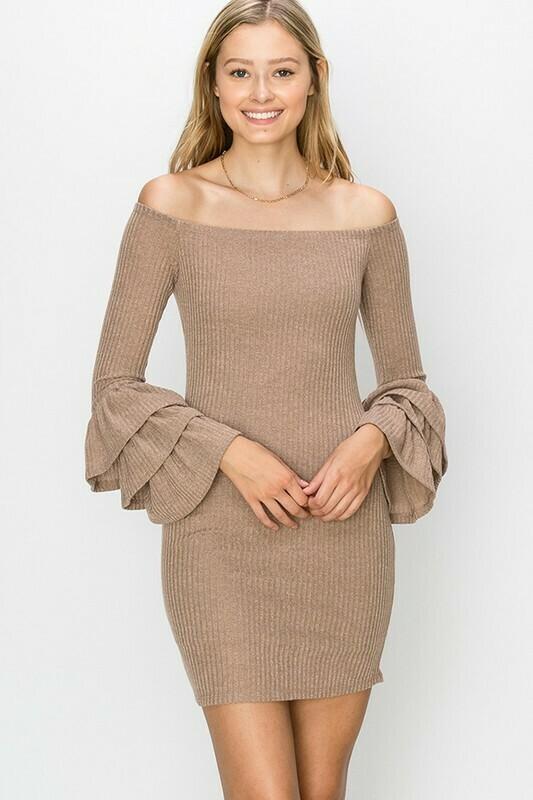 Off Shoulder Ruffle Cuff Dress