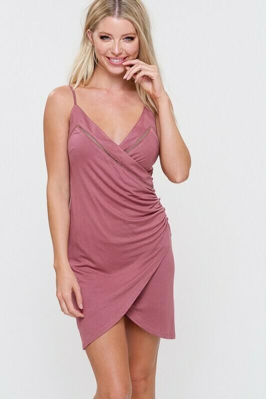 Side Shirred Wrap Dress