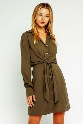 Waist Tie Button Up Shirt Dress