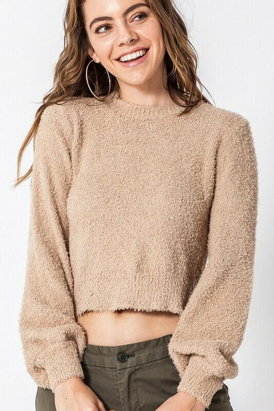 Balloon Sleeve Fuzzy Sweater