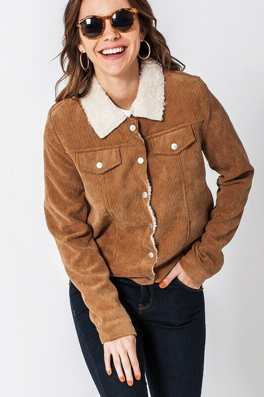 Corduroy Faux Fur Collar Jacket