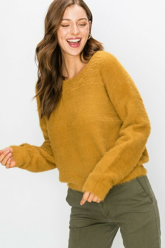 Round Neck Fuzzy Pullover Sweater