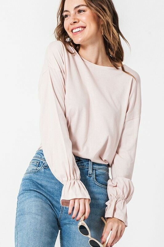 Round Neck Gathered Sleeve Top