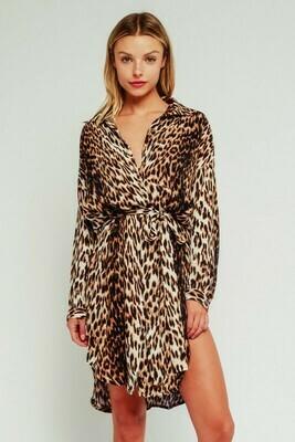 Leopard Belted Shirt Dress