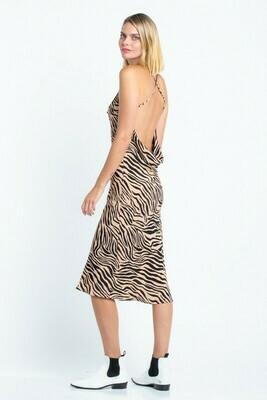 Emmy Zebra Print Midi Dress