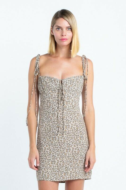 Retro Cheetah Shoulder Tie Dress