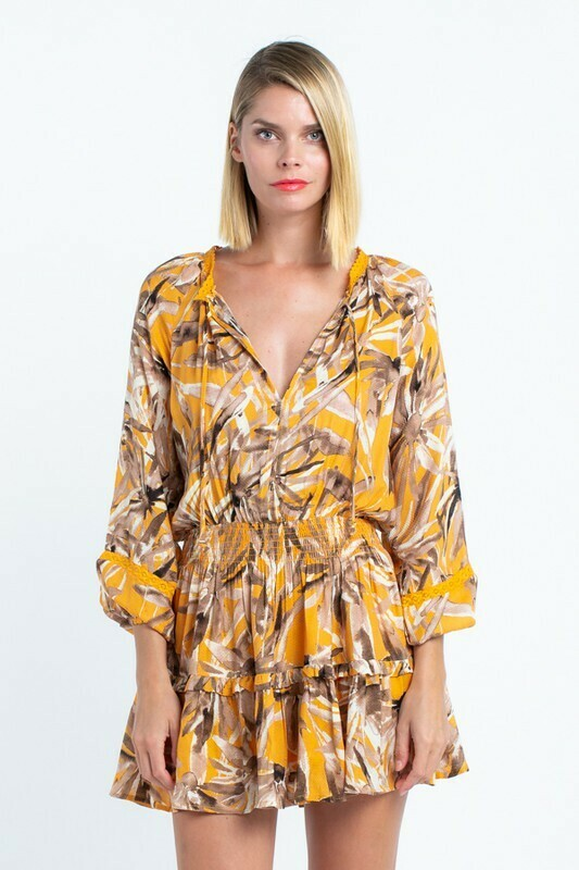 Boho Leaf Print Layered Dress