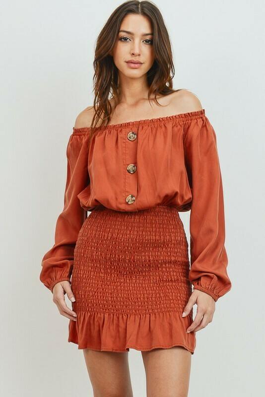 Smocked Off Shoulder Tencel Dress