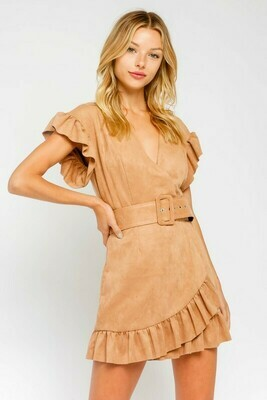 Faux Suede Belted Ruffle Dress