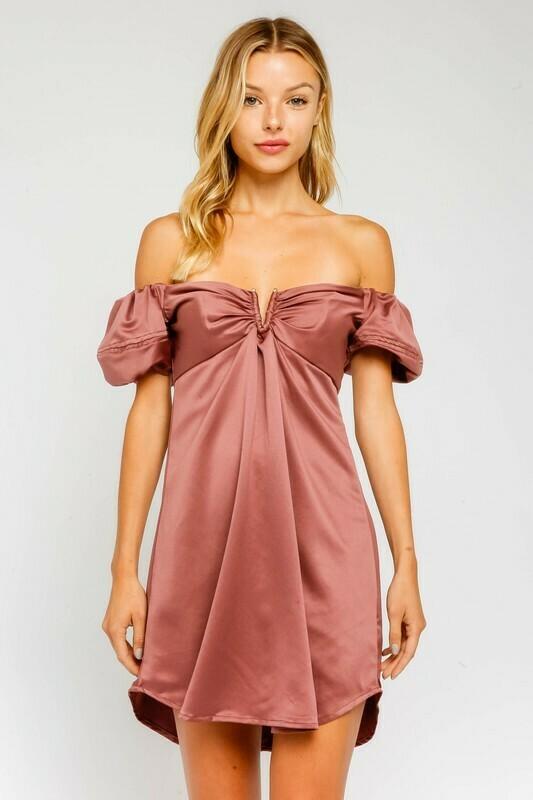 Satin Sweetheart Off Shoulder Dress