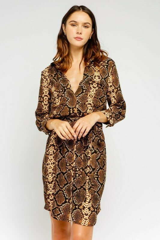 Snake Belted Shirt Dress