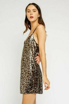 Leopard Sequins V Neck Dress