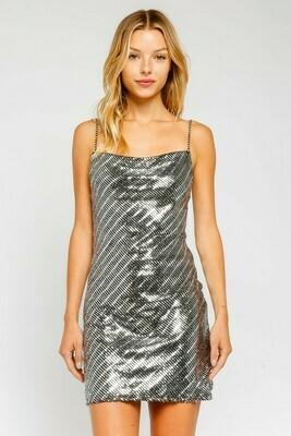 Silver Sequins Scoop Back Dress