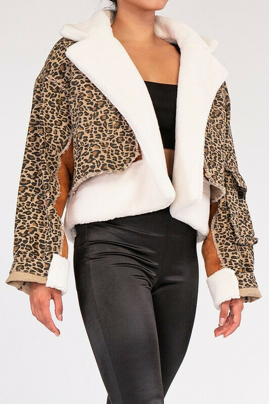 Leopard Layered Denim Jacket