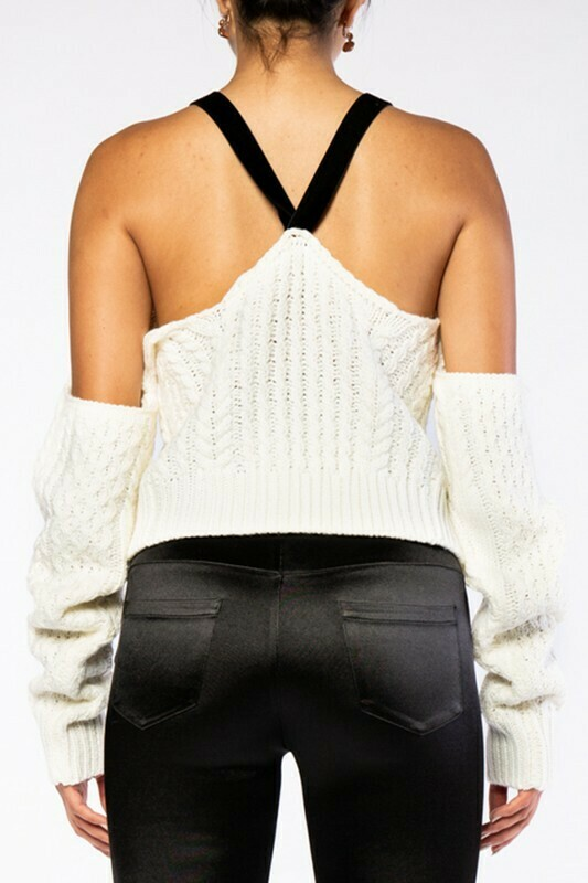 Cold Shoulder Open Back Cable Knitted Knit Top
