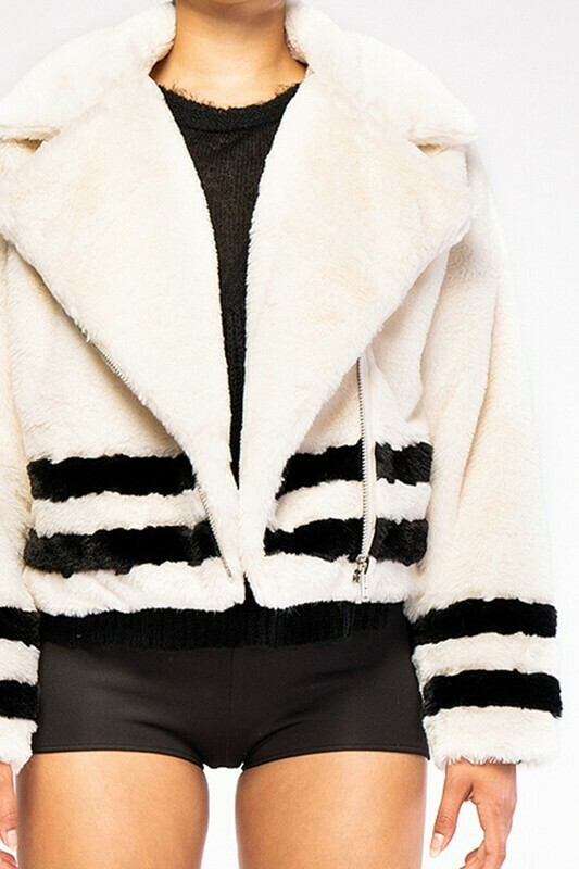 2 Stripes Fuzzy Teddy Zip Up Jacket