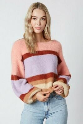 Haley Balloon Sleeve Striped Sweater