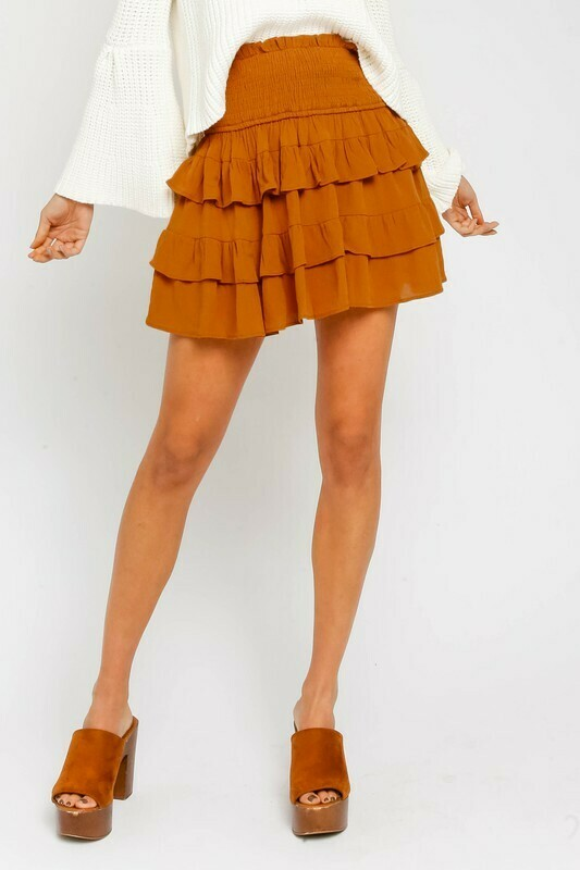 Smocked Ruffled Miniskirt