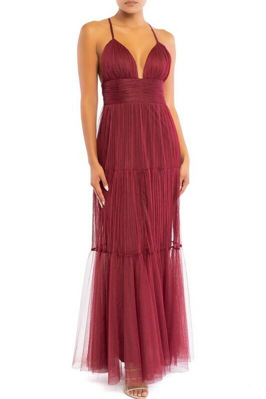 Fran Mesh Pleated Maxi Dress