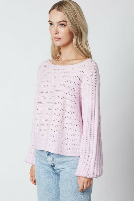 Slouchy Pointelle Knit Sweater