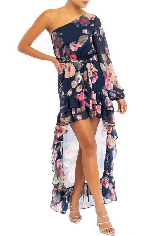 Rosy Chiffon One Shoulder Maxi Dress